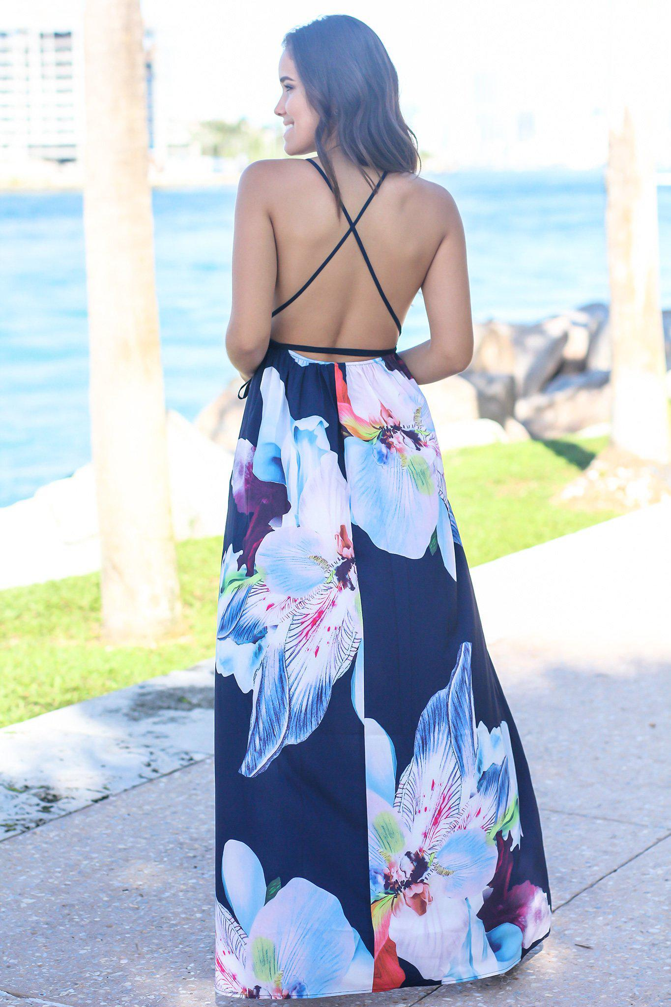 Navy and Purple Floral V-Neck Maxi Dress
