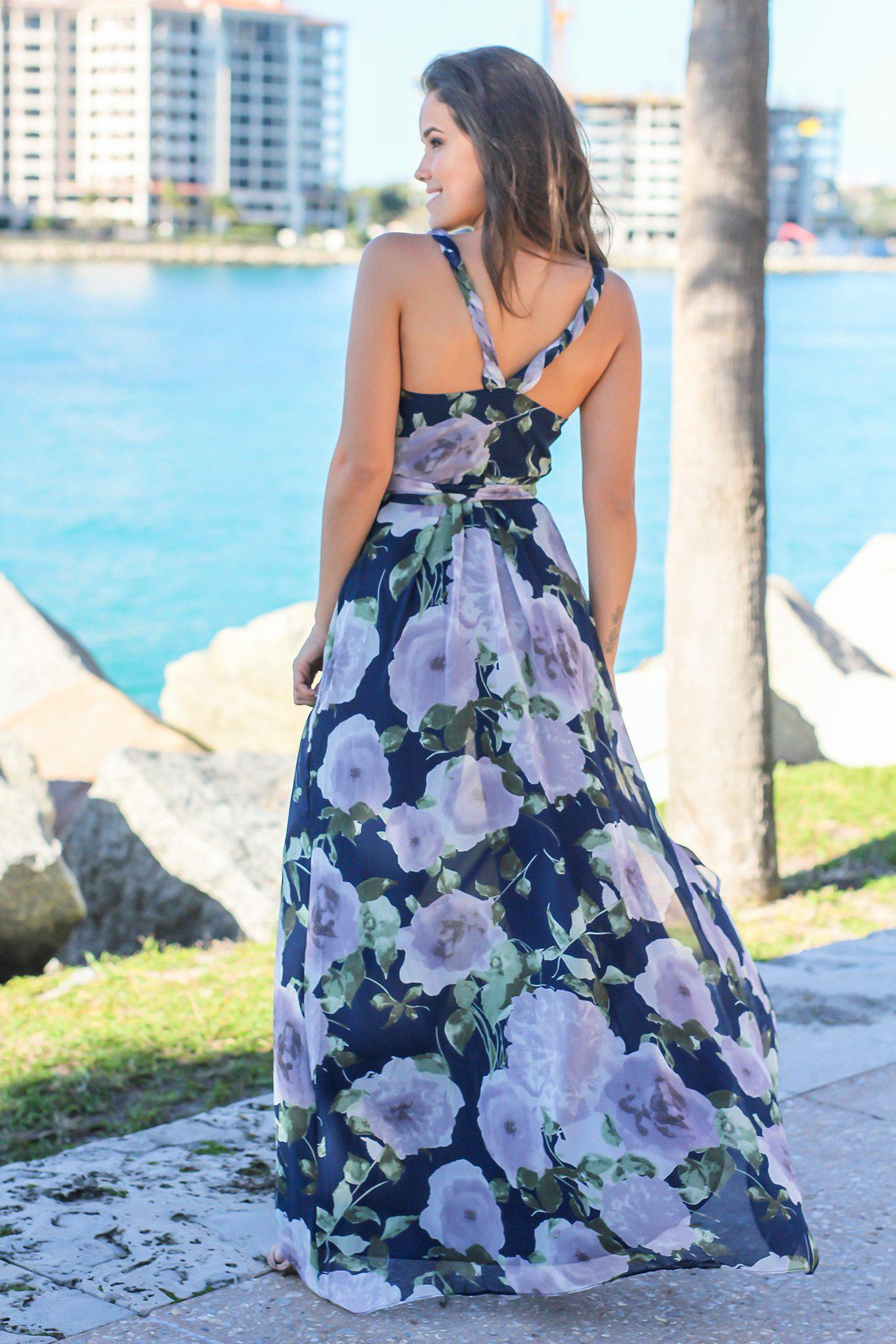 Navy and Purple Floral Wrap Dress