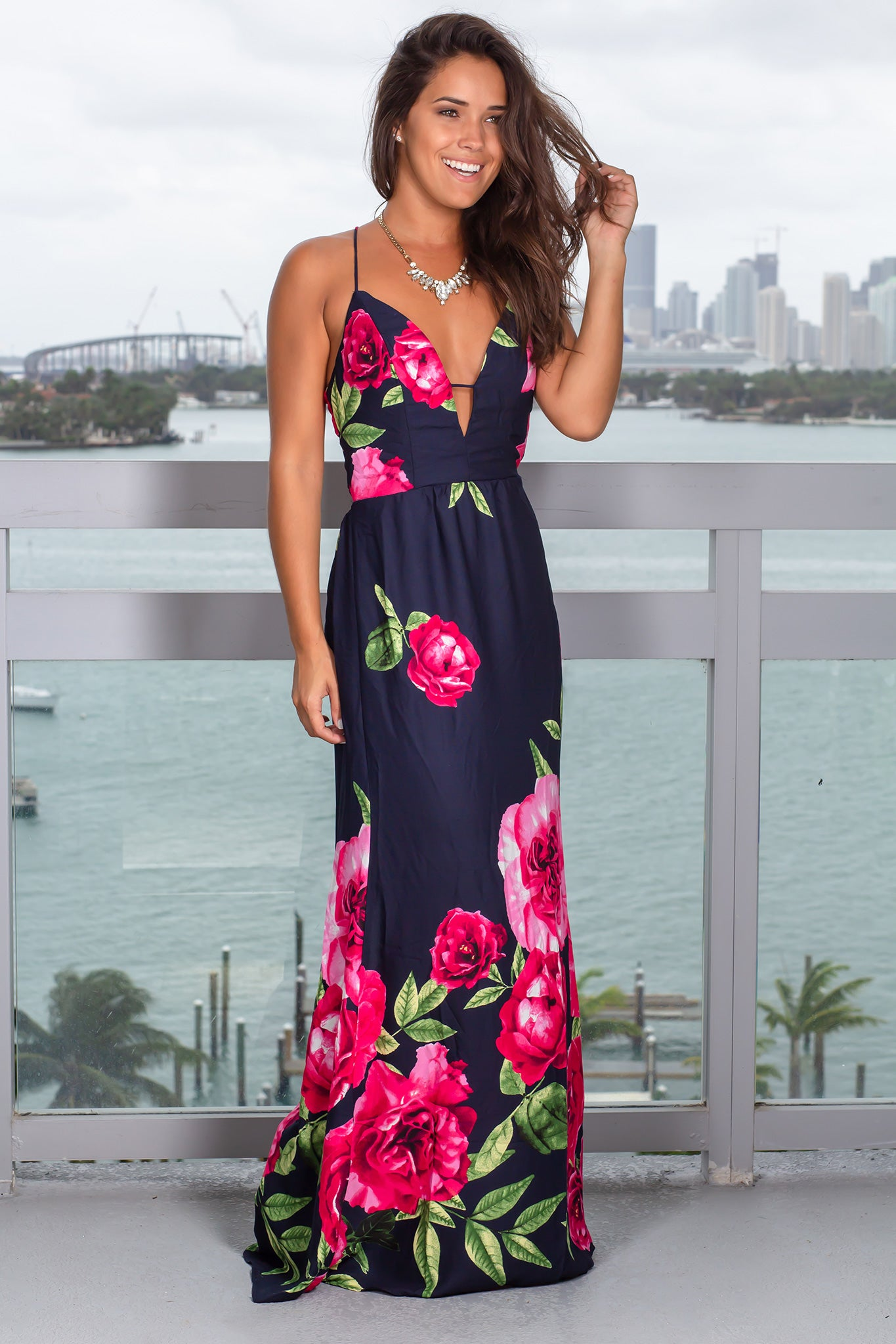 Navy and Red Floral Maxi Dress with Open Back