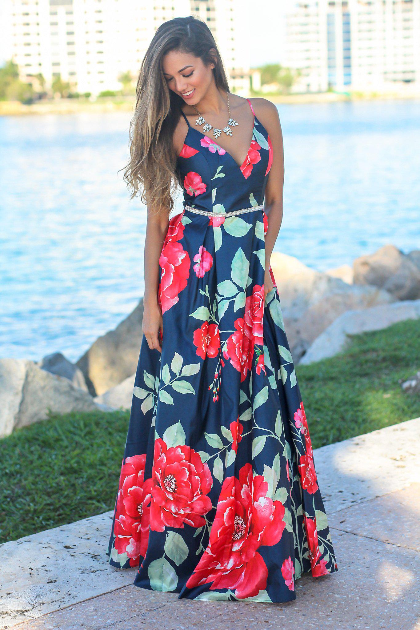 fac852dc9f07 Navy and Red Floral Maxi Dress with Pockets | Maxi Dresses – Saved by the  Dress