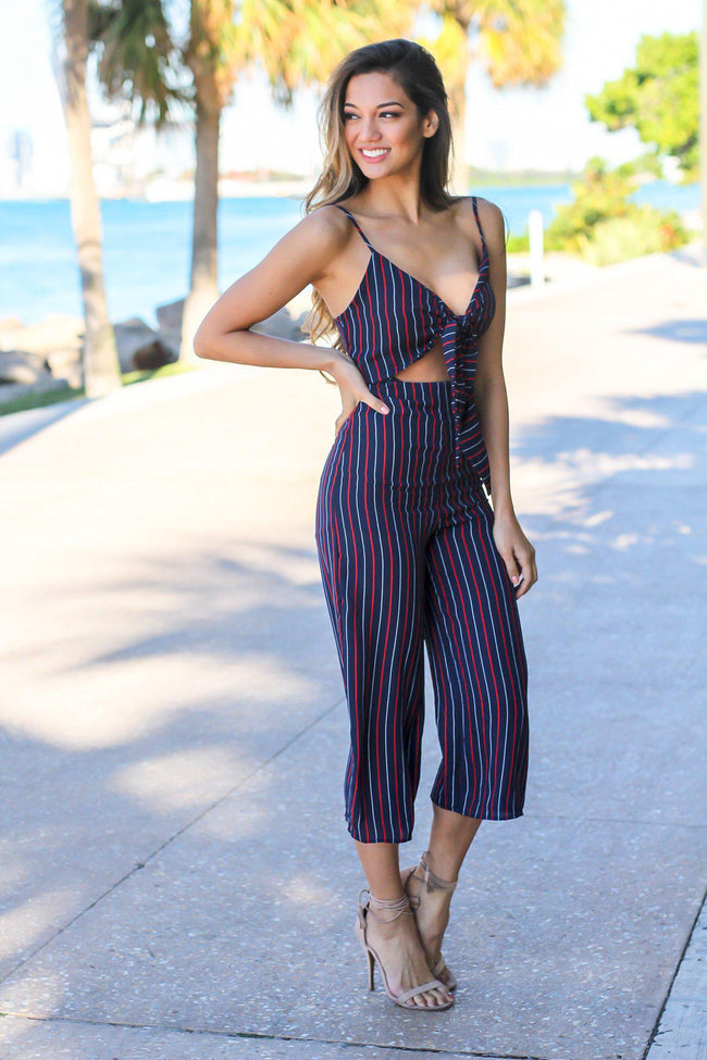 Navy and Red Striped Jumpsuit