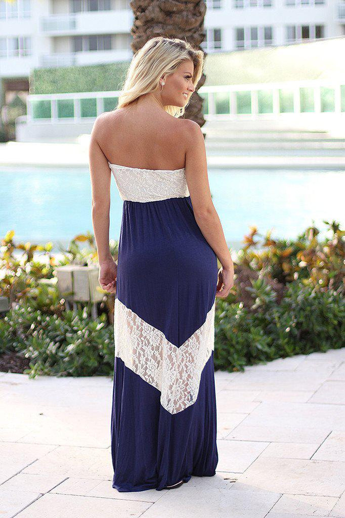 Navy and White Chevron Maxi Dress with Lace