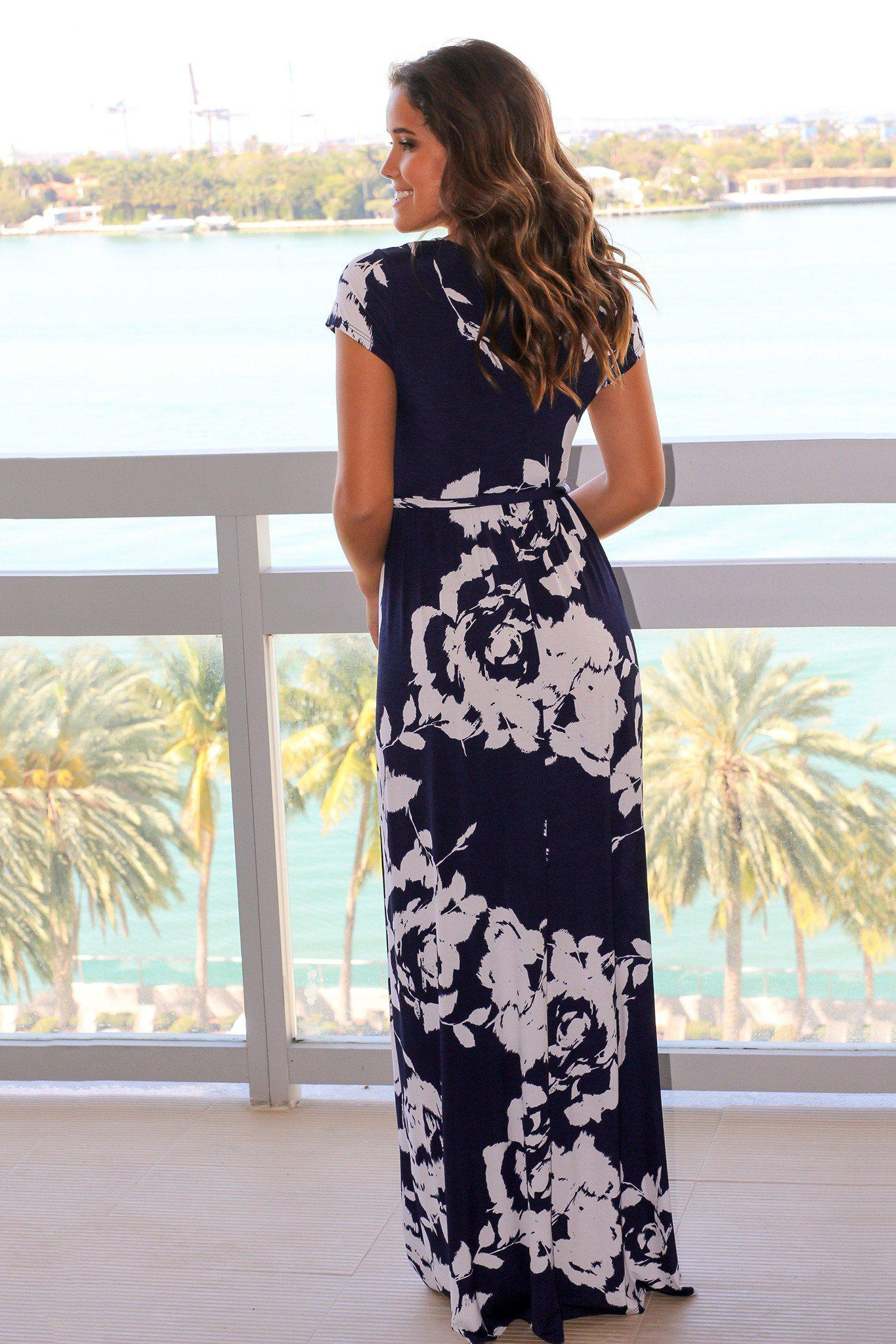 Navy and White Floral Maxi Dress