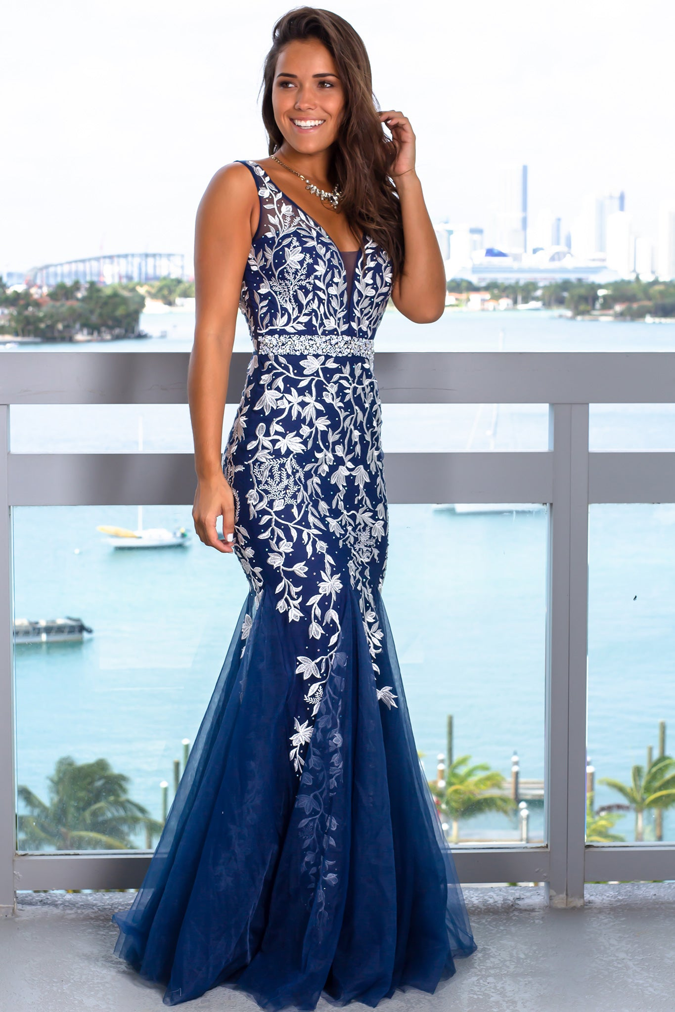 Navy and White Maxi Dress with Tulle Detail