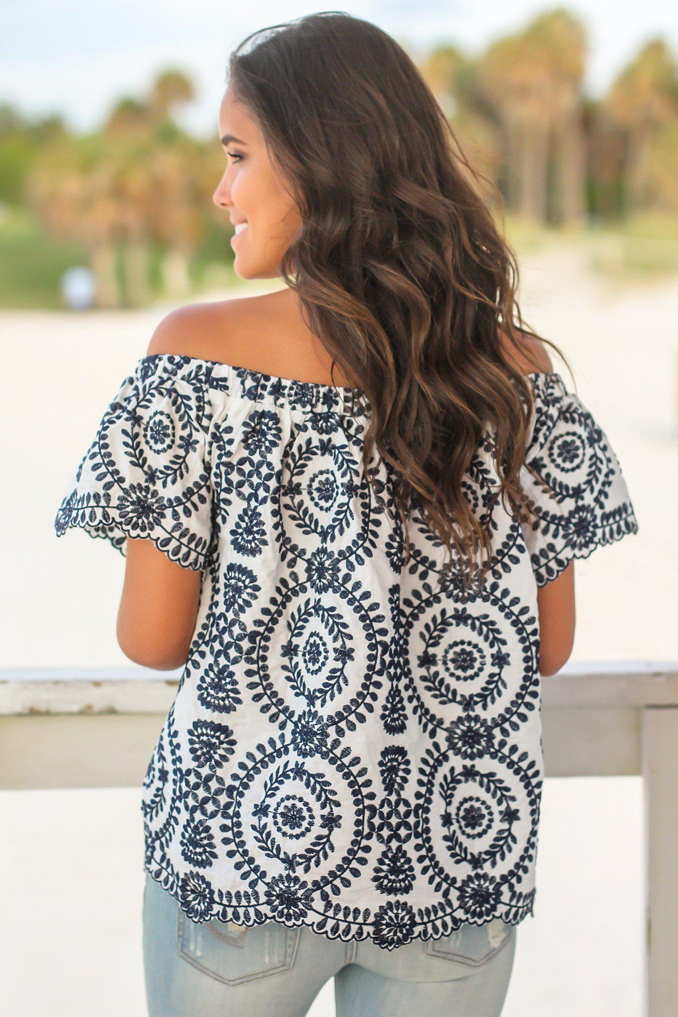 Navy and White Off Shoulder Embroidered Top