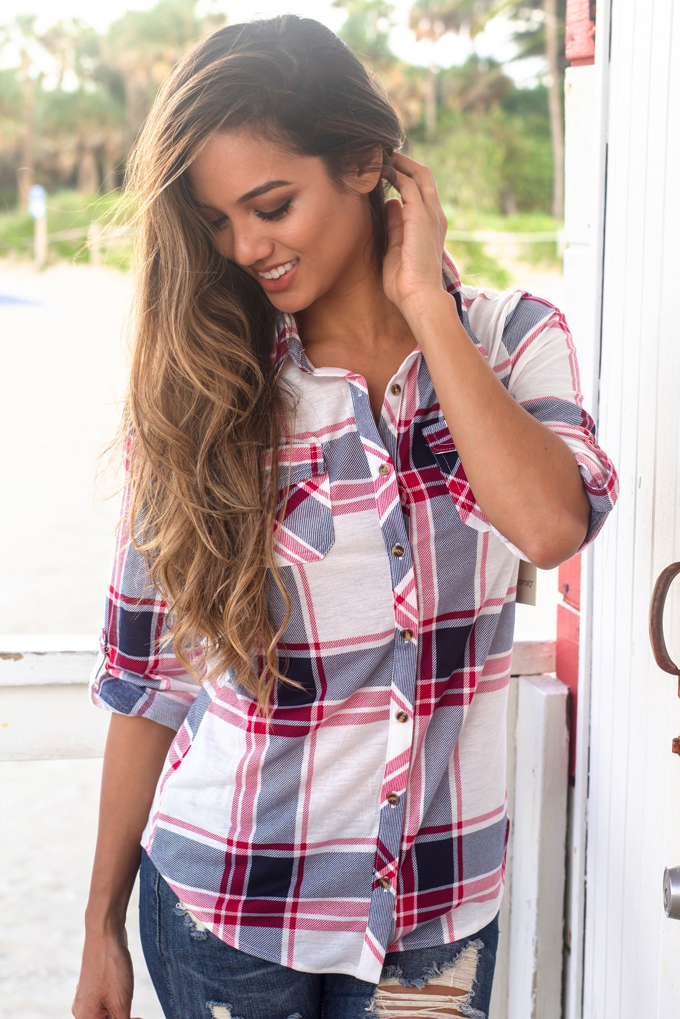 Navy and White Plaid Top