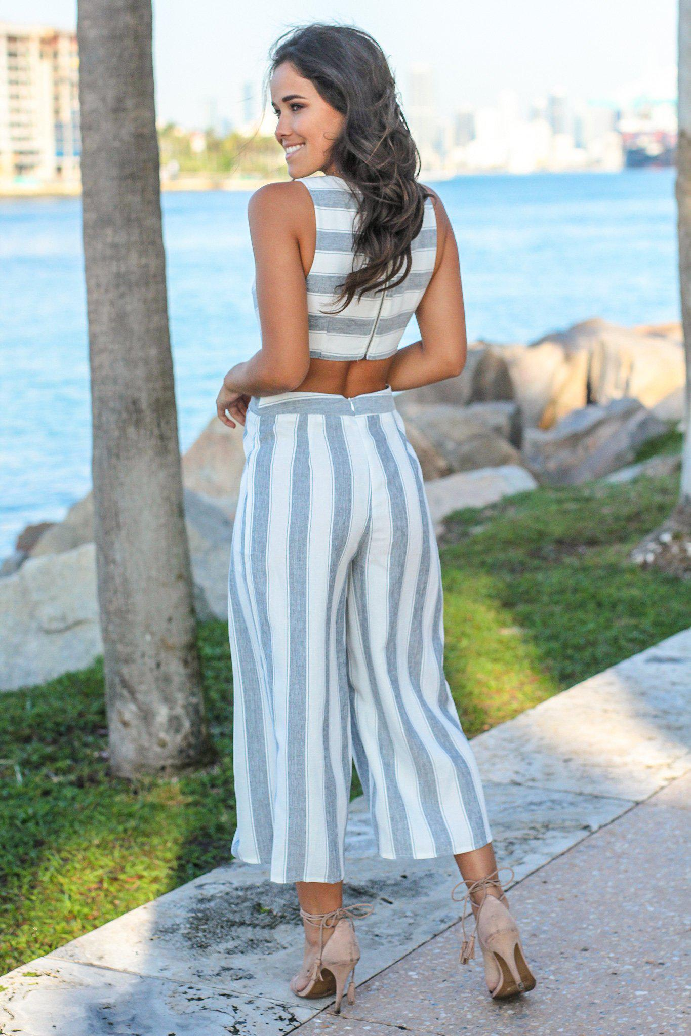 Navy and White Striped Jumpsuit with Open Back