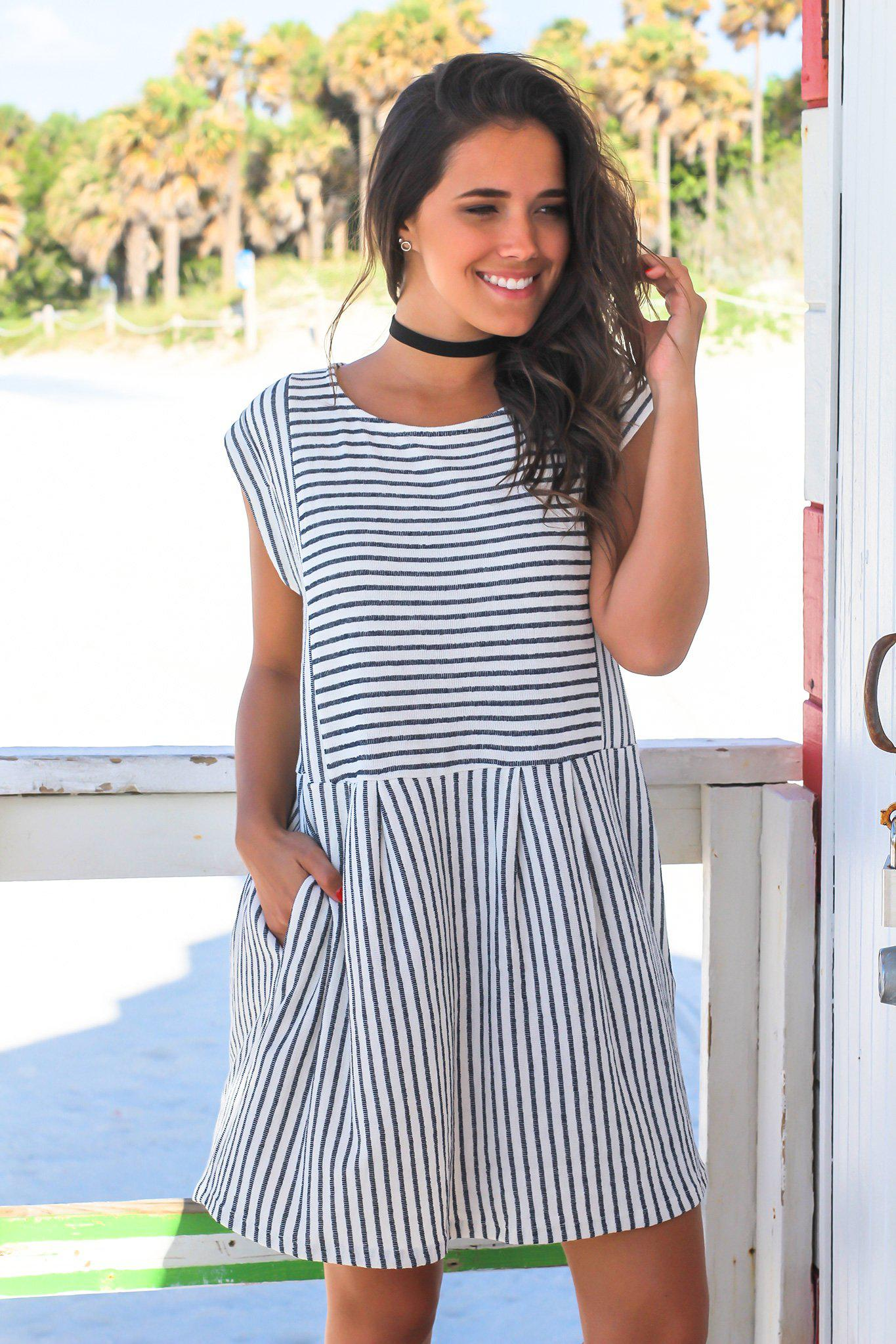 Navy and White Striped Short Dress with Pockets