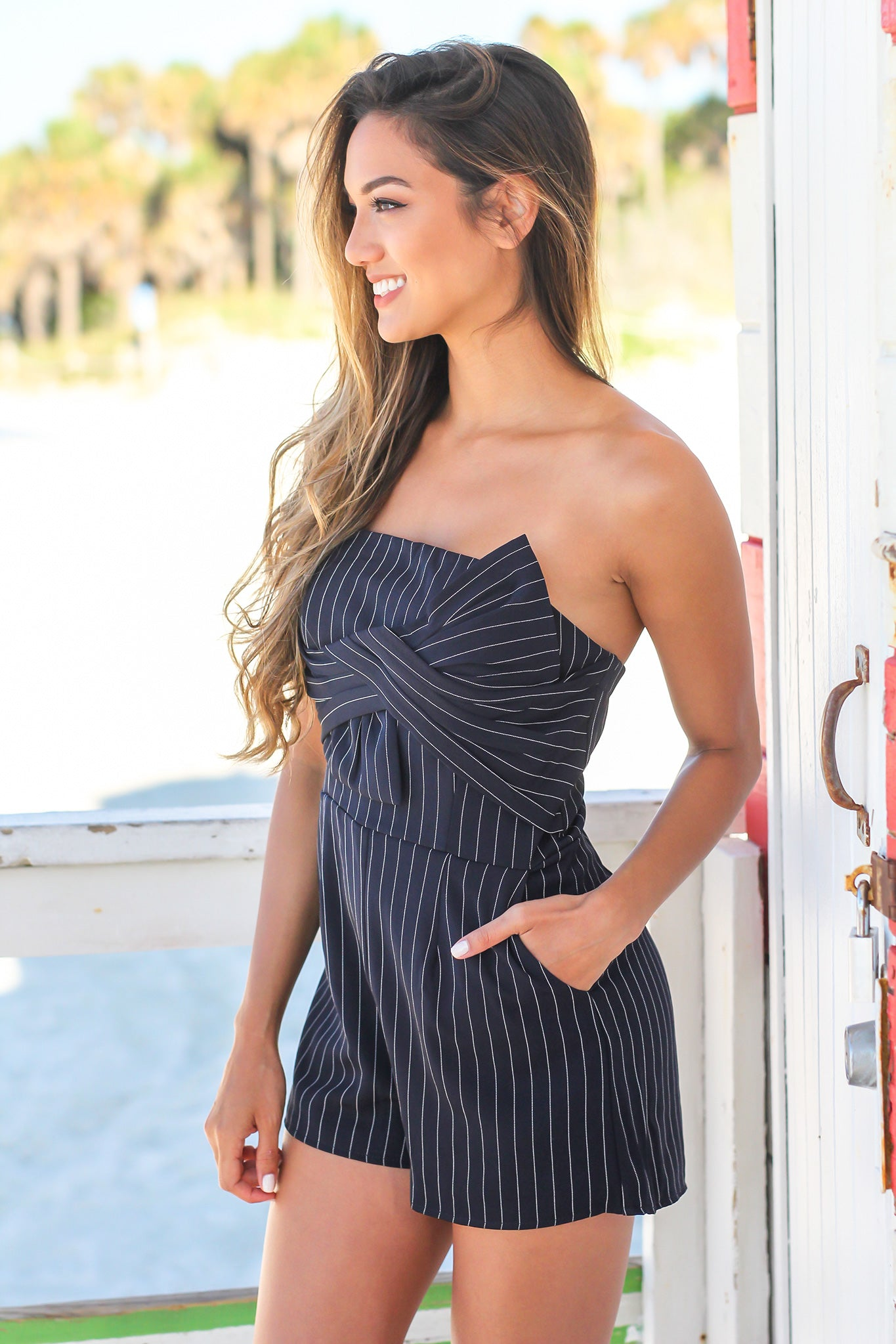 cb4c7195553 Navy and White Striped Strapless Romper