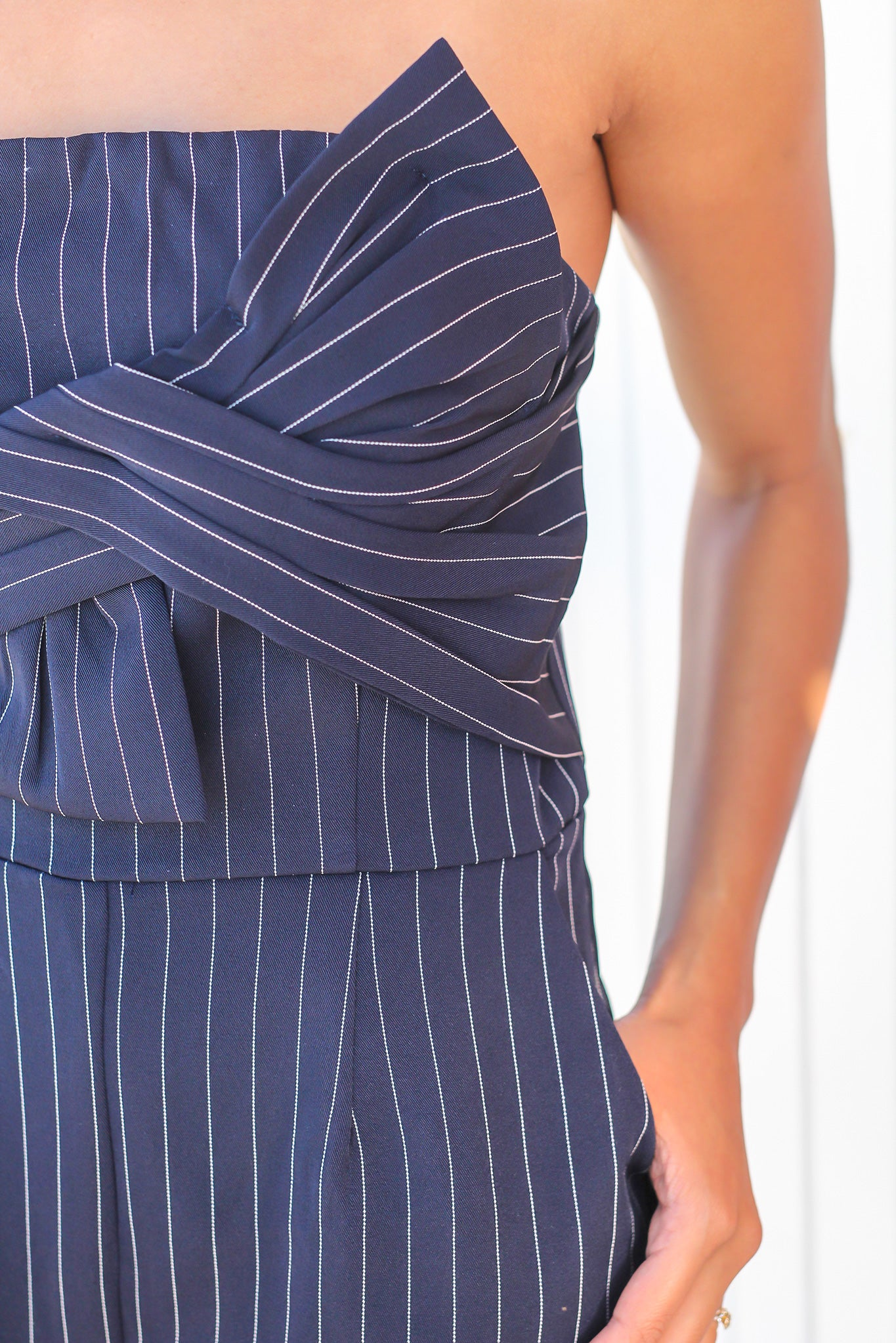 Navy and White Striped Strapless Romper