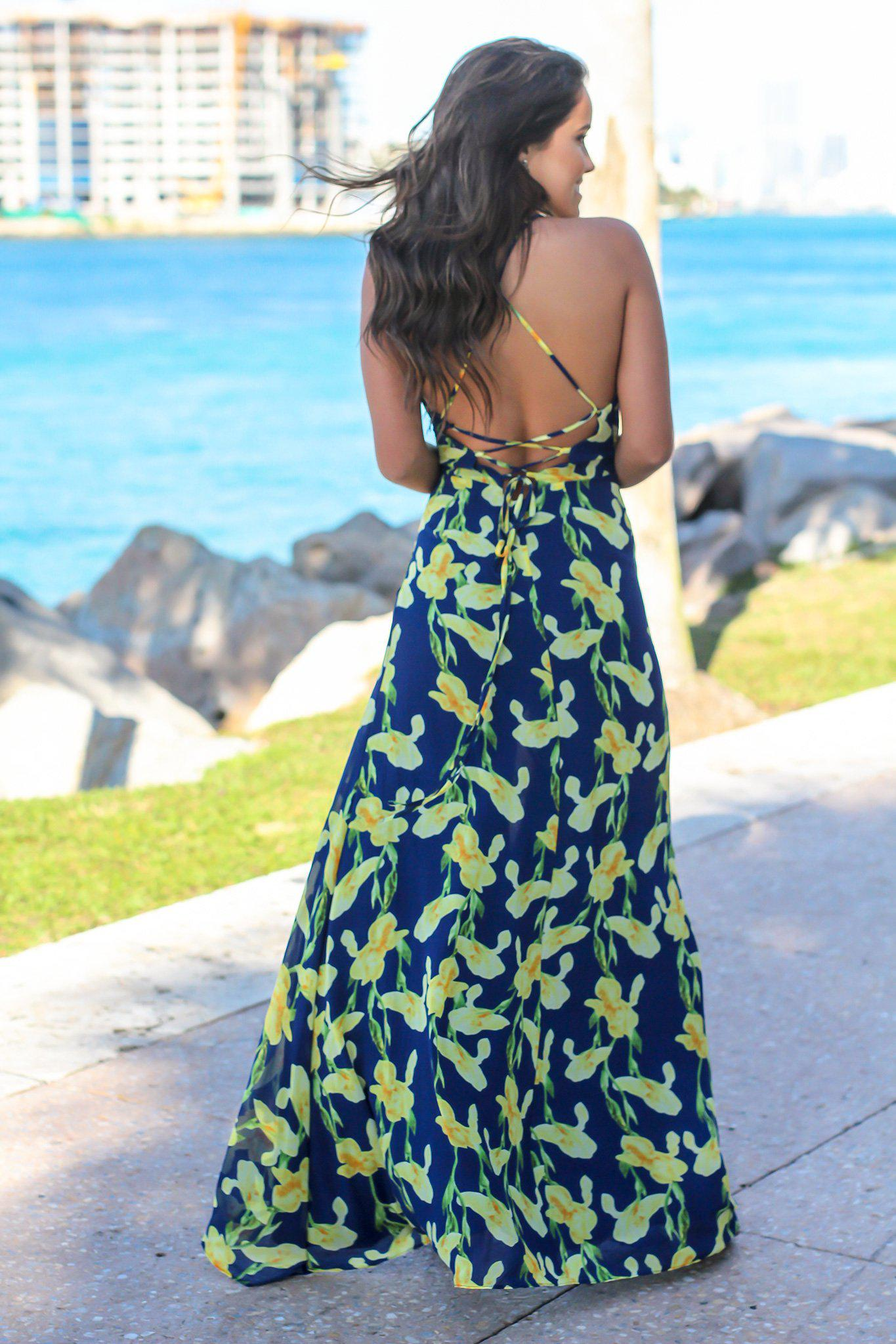 Navy and Yellow Floral Maxi Dress with Lace Up Back