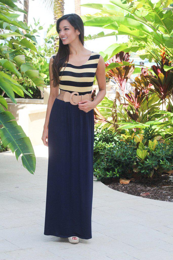 Navy and Yellow Maxi Dress with Belt