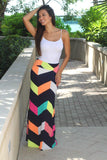 Navy Multi Color Maxi Skirt