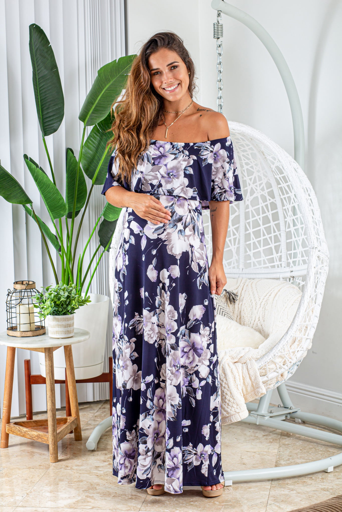 Navy and Gray Floral Off Shoulder Maxi Dress