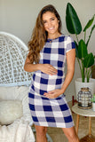 Navy and White Checkered Maternity Short Dress