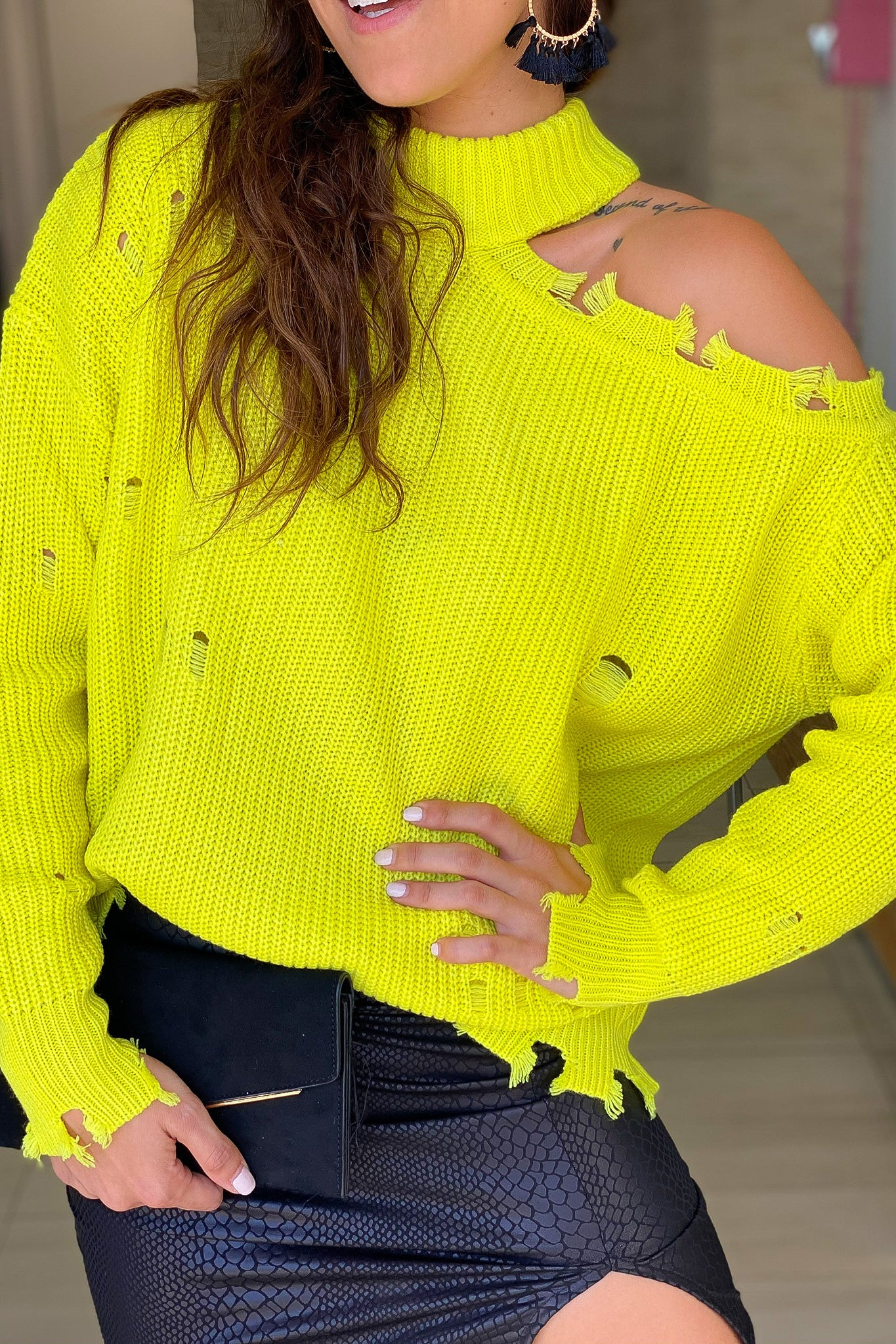 Neon Lime Distressed Sweater