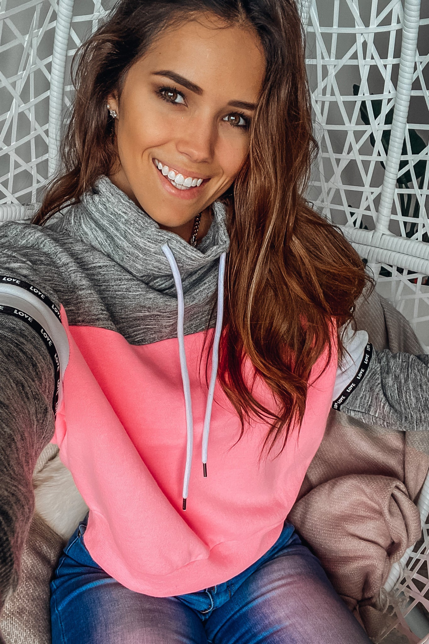 Neon Pink and Charcoal Cowl Neck Pullover
