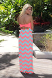 Neon Coral Chevron Maxi Dress With Back Bow