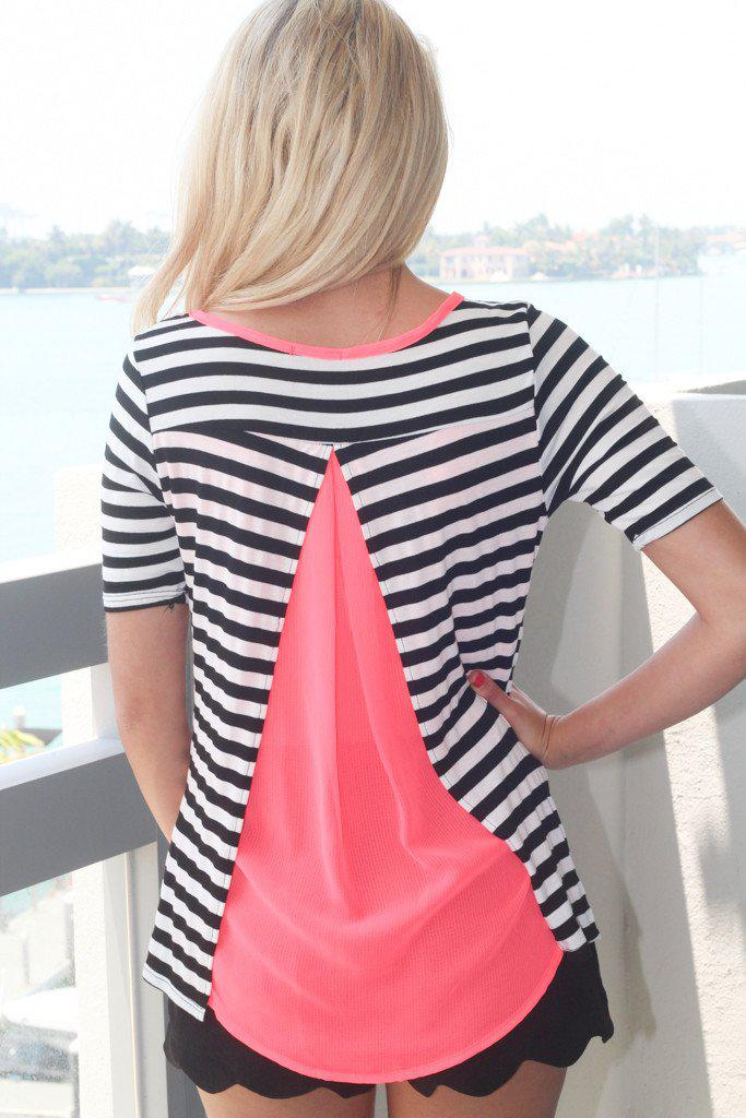 Neon Coral And Black Striped Top