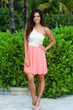 Neon Coral And Ivory One Shoulder Dress