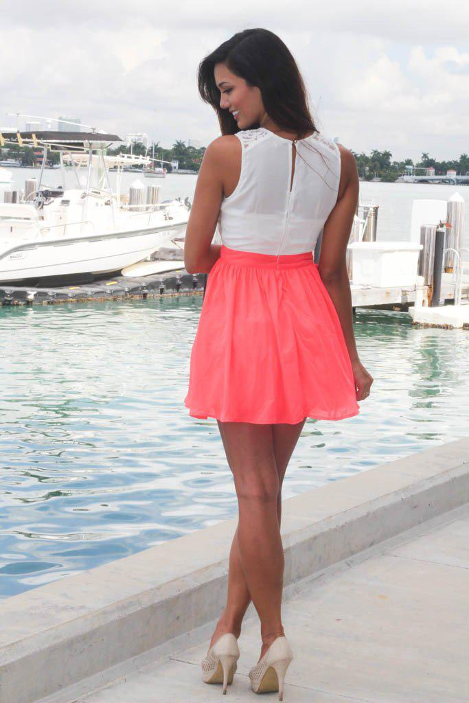Neon Coral And White Lace Dress