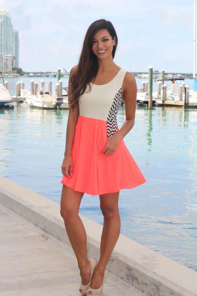 Neon Coral Chevron Dress With Pockets