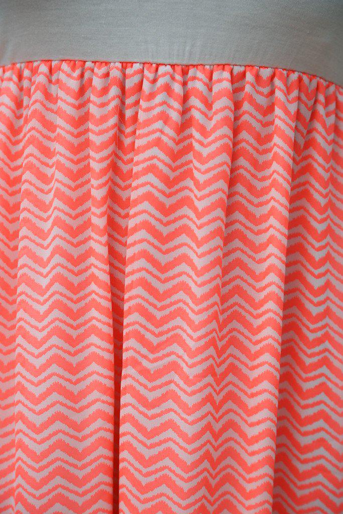 Neon Coral Chevron Maxi Dress