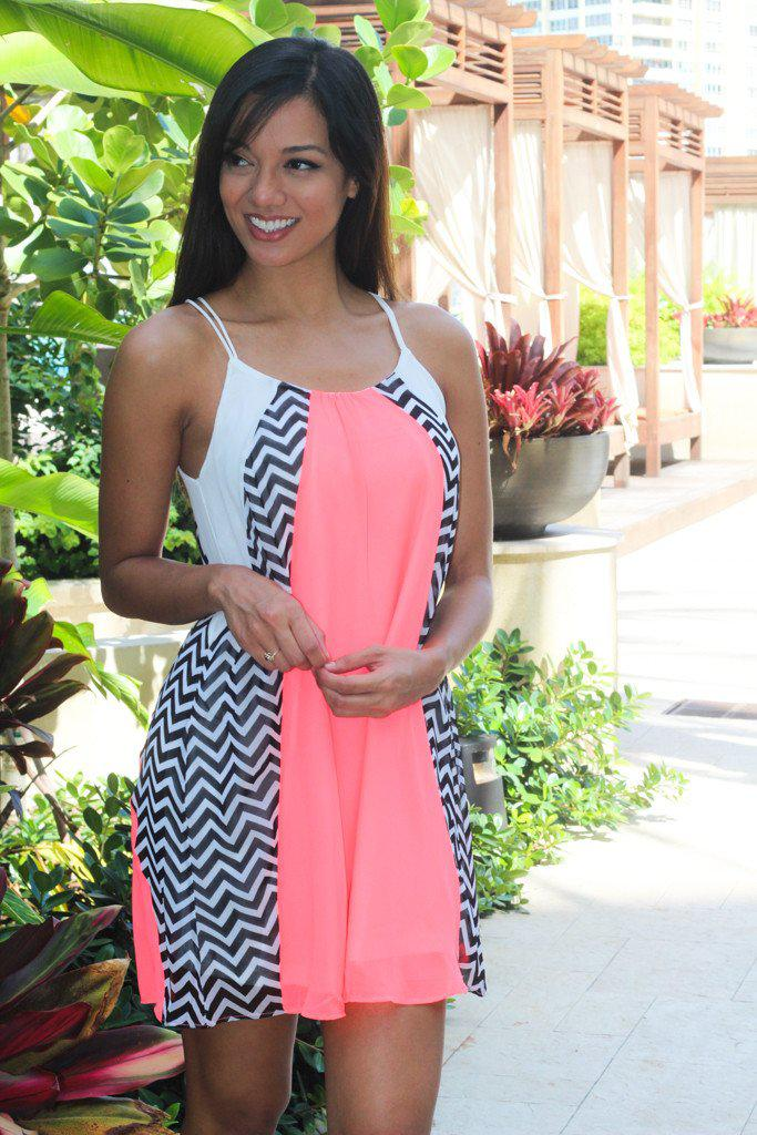 Neon Coral Chevron Short Dress