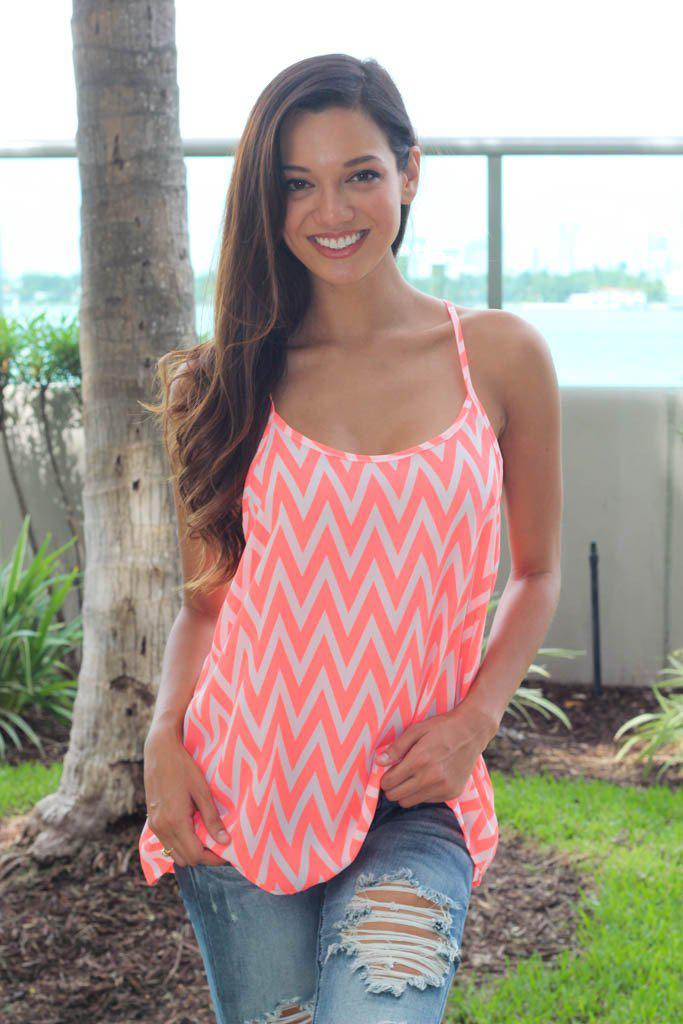 Neon Coral Chevron Tank Top
