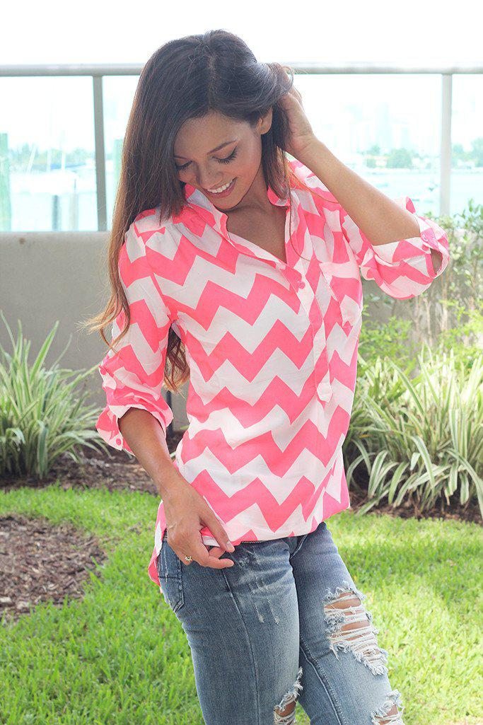 Neon Coral Chevron Top