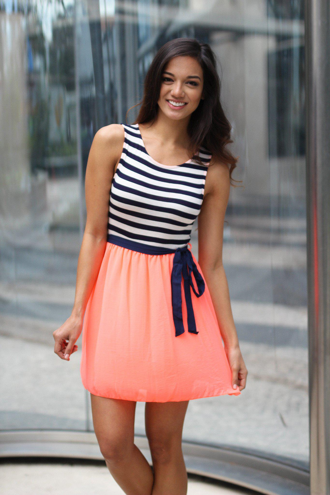 Neon Coral Striped Short Dress