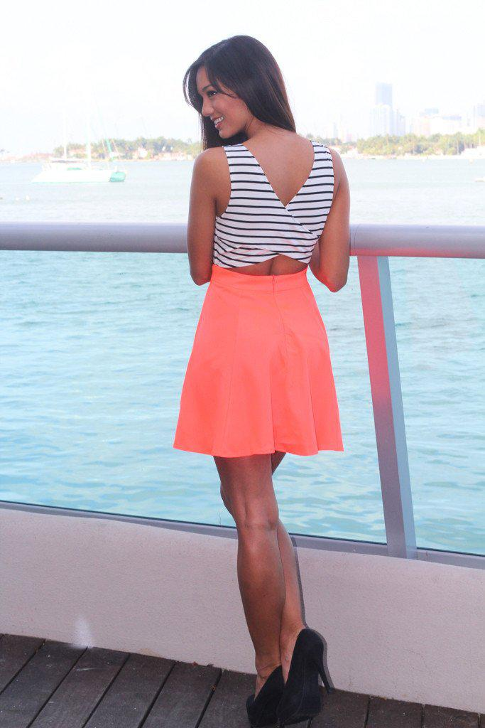 Neon Coral Short Dress With Criss-Cross Back