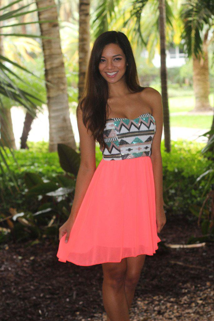 Neon Coral Short Dress With Sequin Top