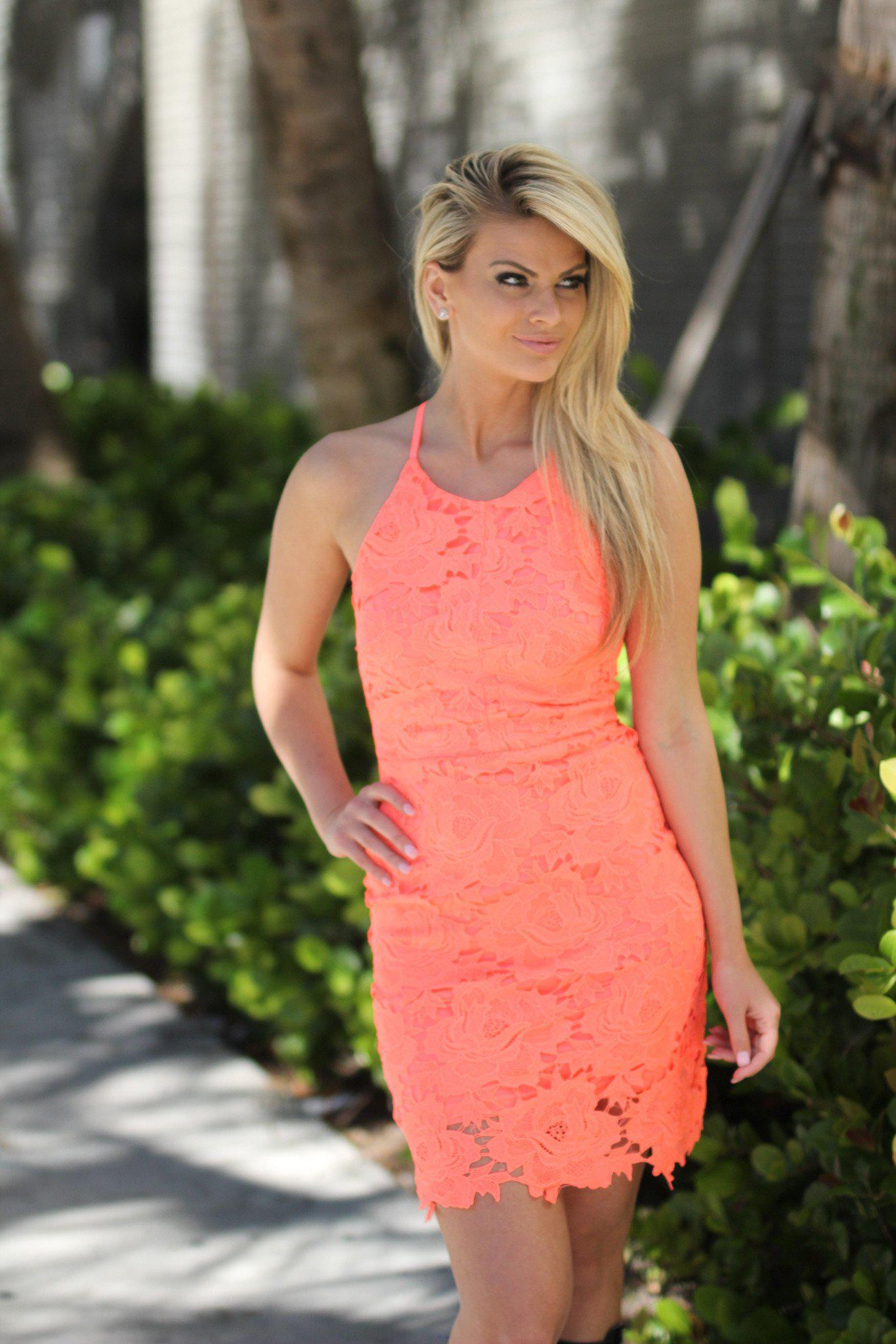 6dfb22f5faa1 Neon Coral Crochet Dress | Neon Coral Short Dress – Saved by the Dress