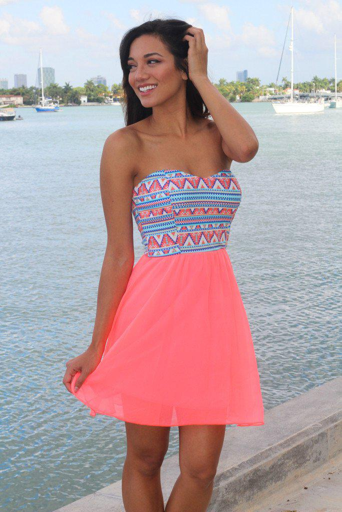 Neon Coral Short Dress