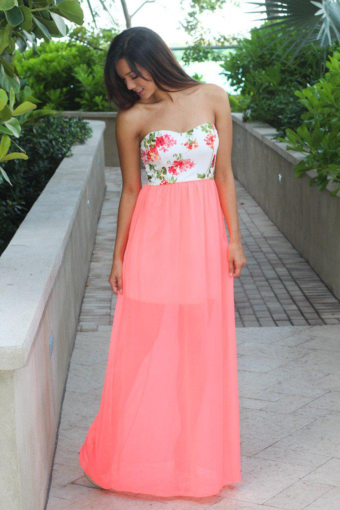 Neon Coral Maxi Dress with Floral Print Top