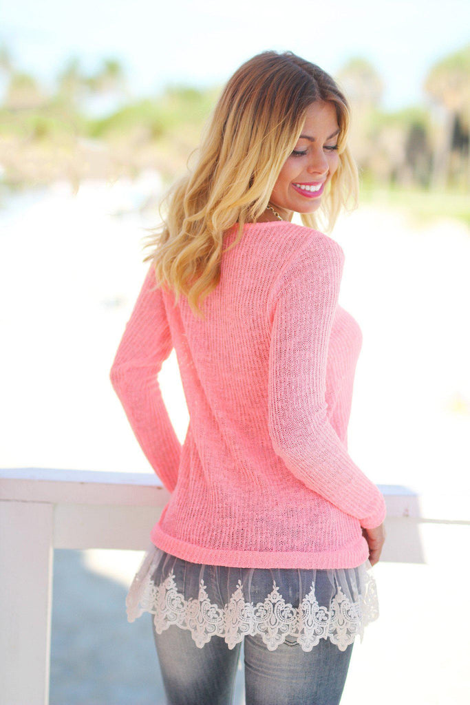 Neon Coral Knit Sweater Top with Lace Trim