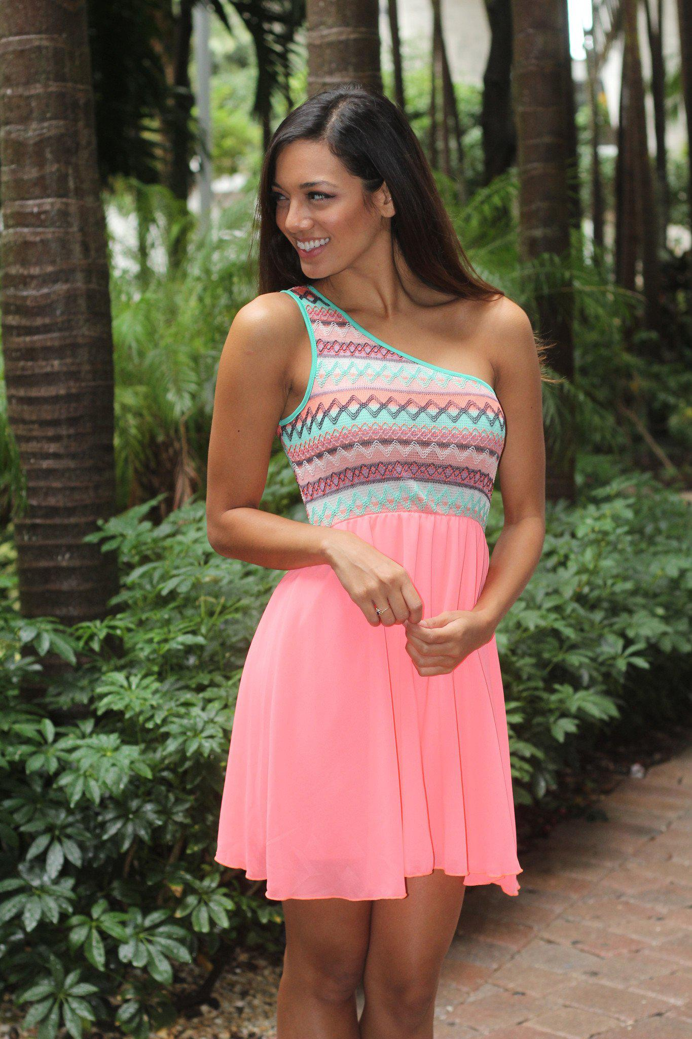Neon Coral Short Dress With One Shoulder Top