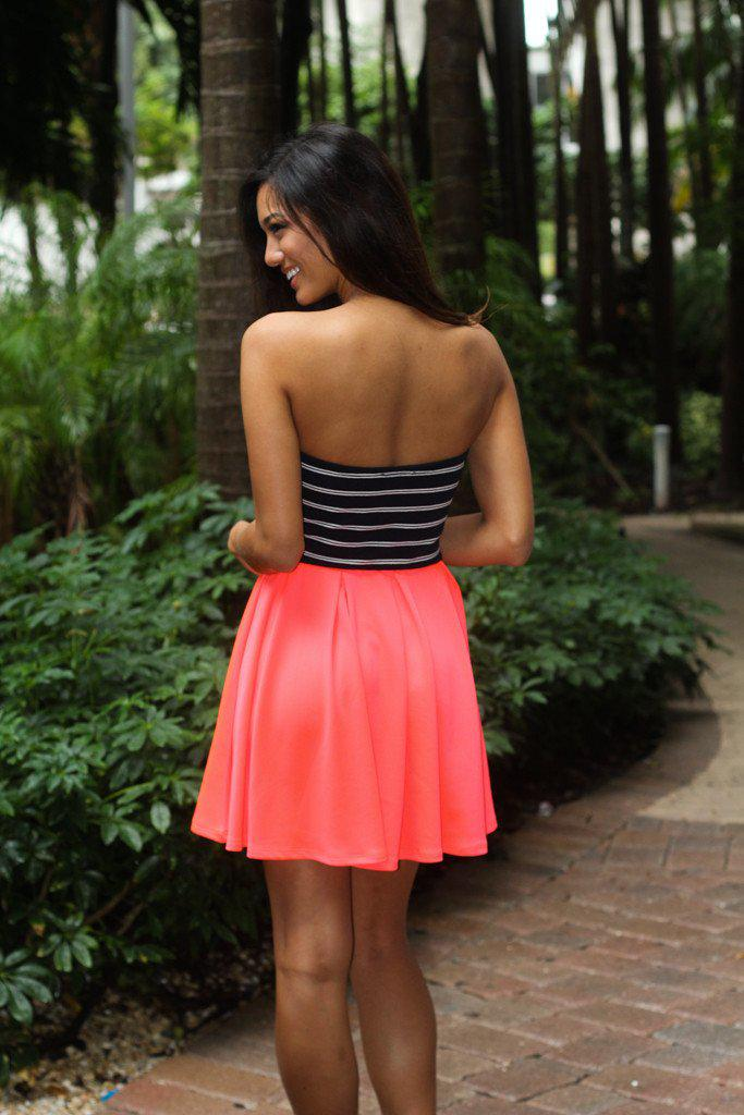 Neon Coral Dress With Striped Top