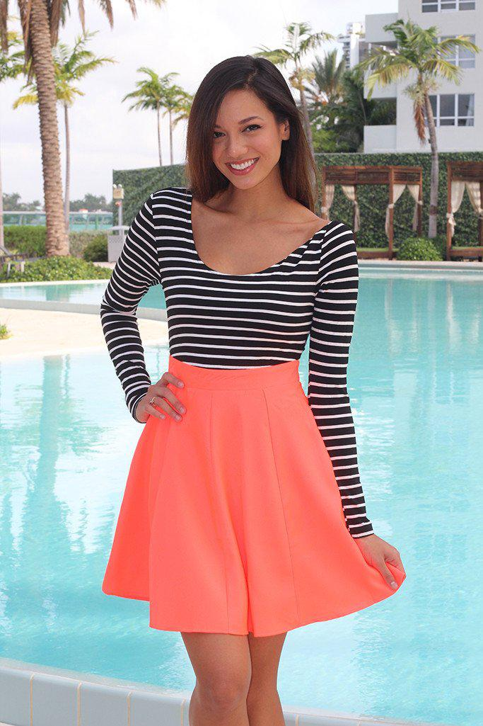 Neon Coral and Black Short Dress with Criss Cross Back