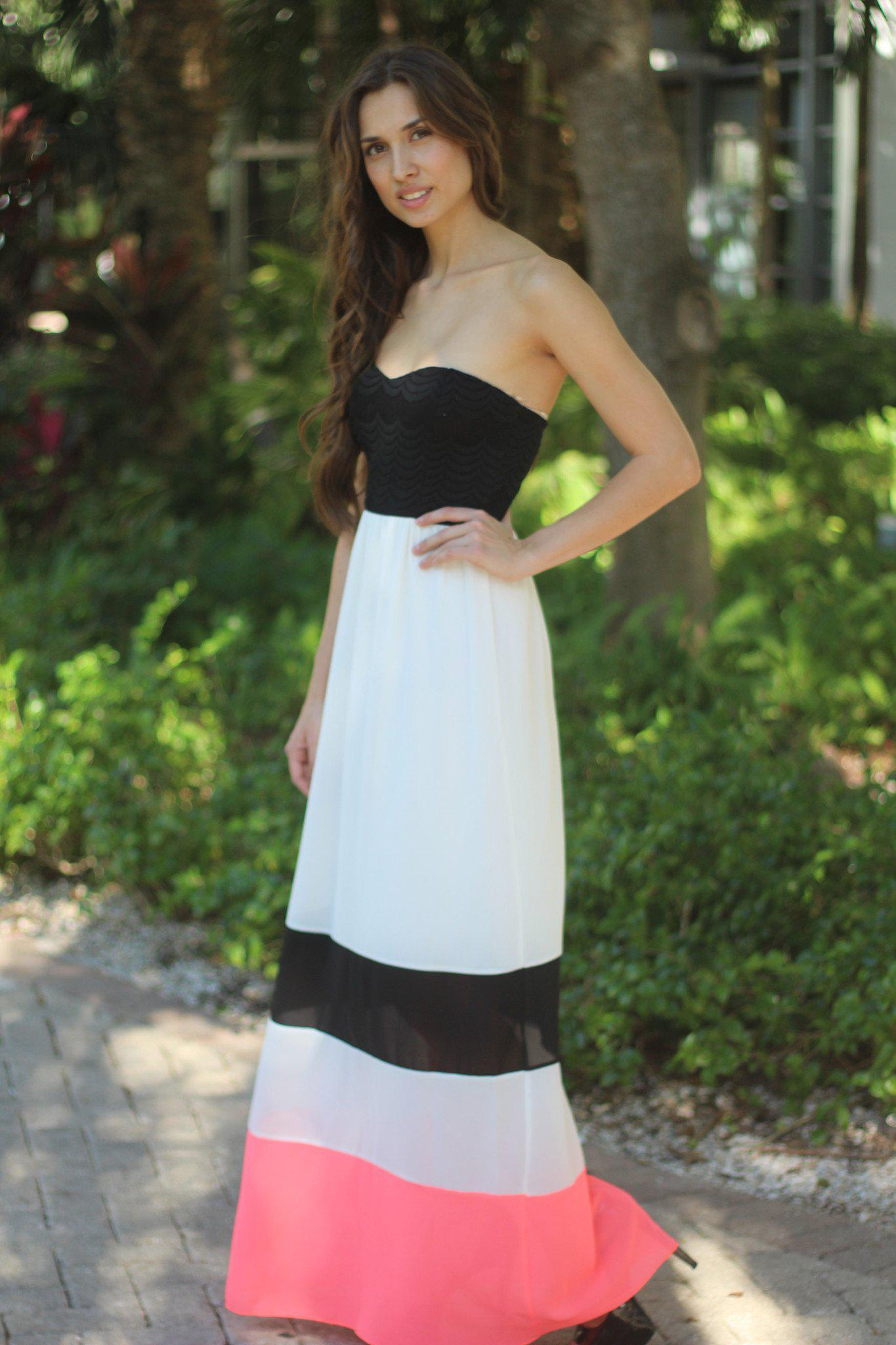 Neon Coral and White Maxi Dress