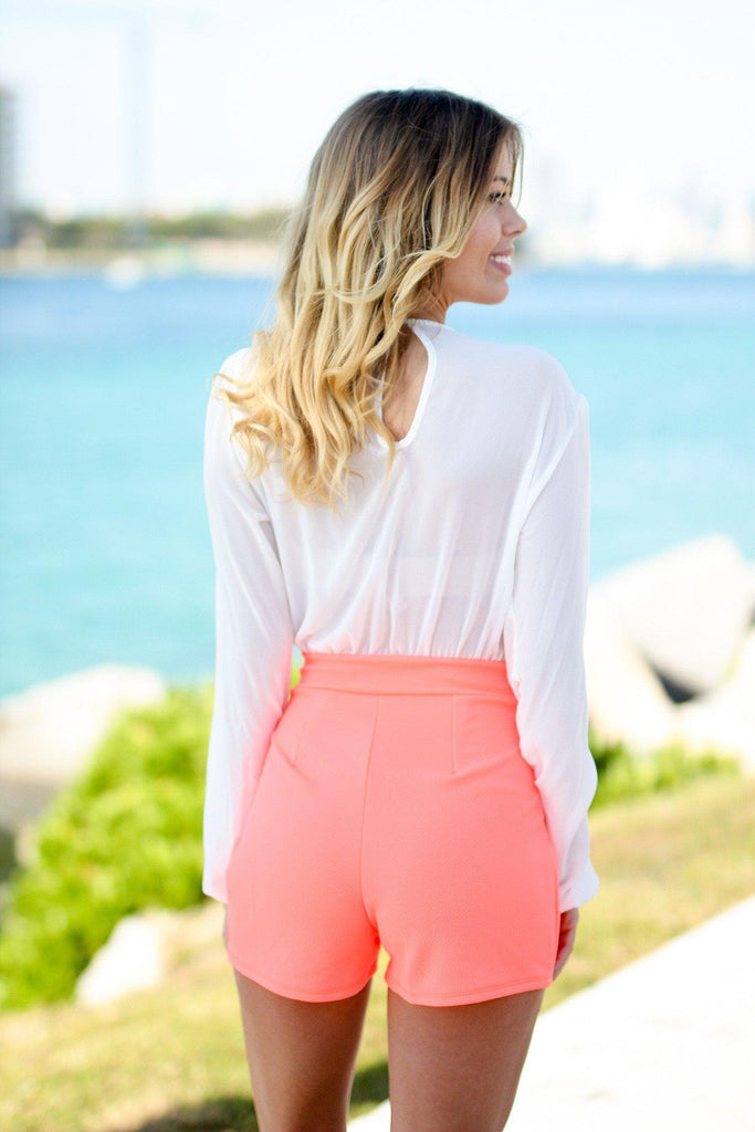 Neon Coral and White Romper with Belt