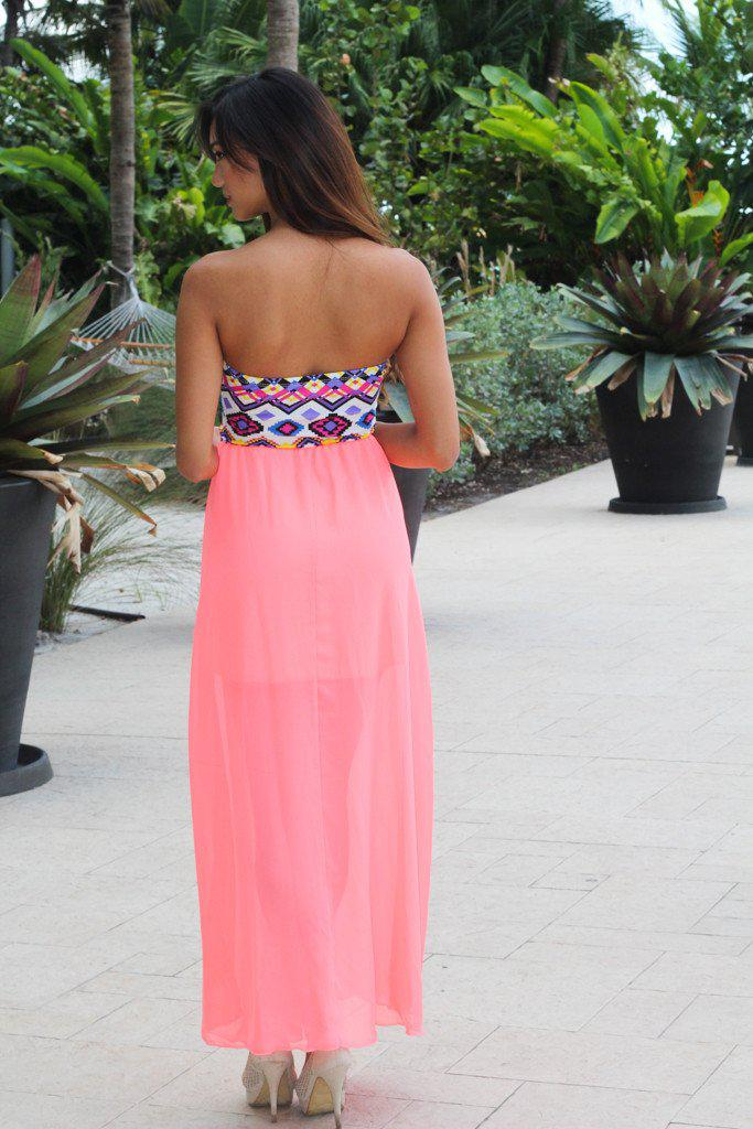 Neon Coral Maxi Dress With Aztec Top