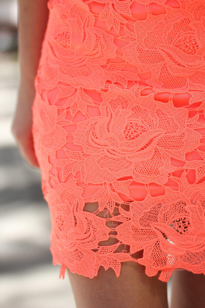 neon coral special occasion dress
