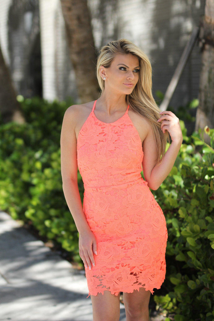 neon coral bridesmaid dress