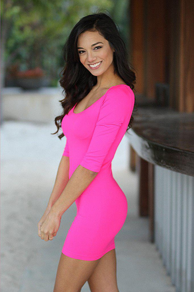 neon pink fitted top dress