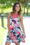 Neon Floral Short Dress with Strappy Neck