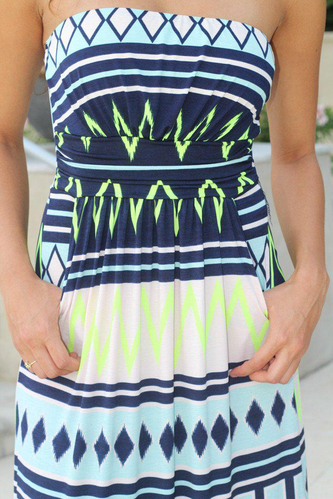 Neon Lime And Navy Chevron Maxi Dress With Pockets