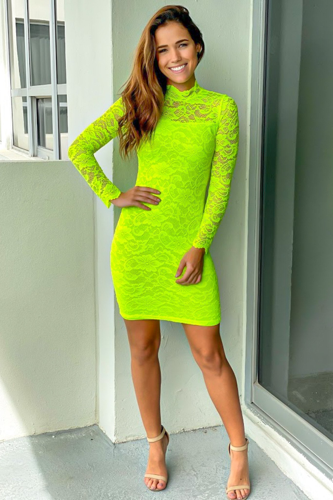 Neon Lime Laced Short Dress with 3/4 Sleeves