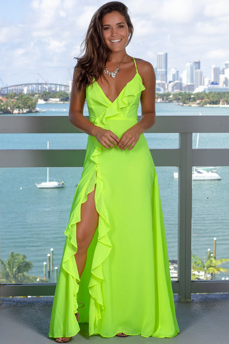 Neon Lime Maxi Dress with Ruffle Detail